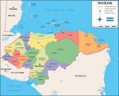 Mapa de Honduras con sus departamentos