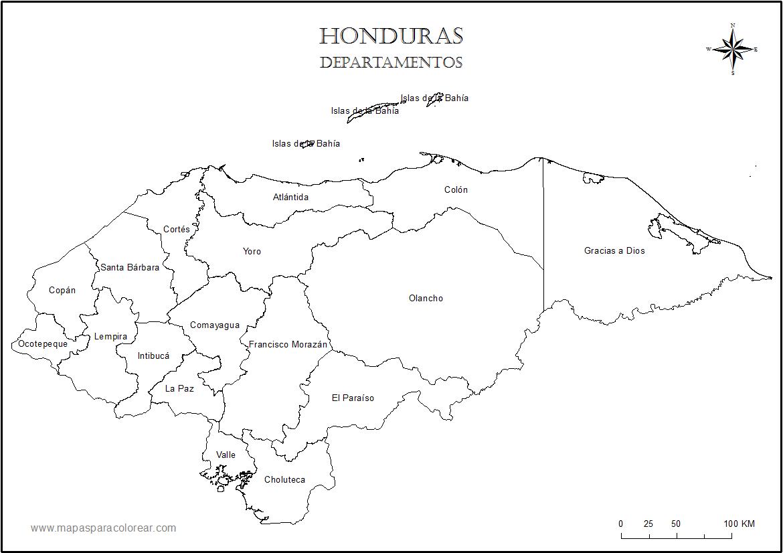 Mapa de Honduras para colorear - Mapa de Honduras