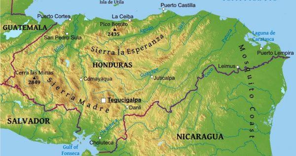 Mapa de relieve de Honduras