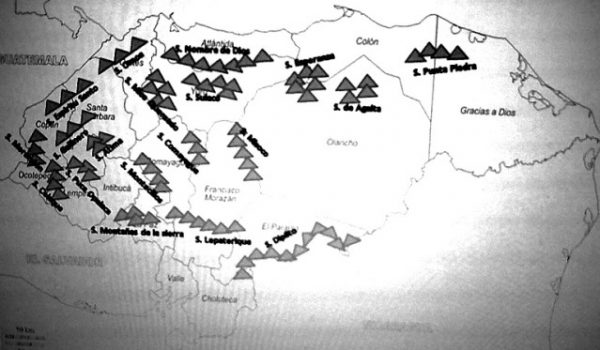 Mapa de montañas de Honduras