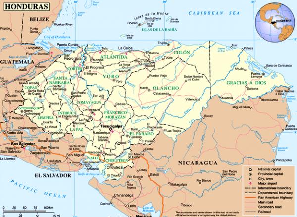 Mapa político de Honduras