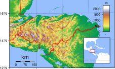 Mapa topográfico de Honduras