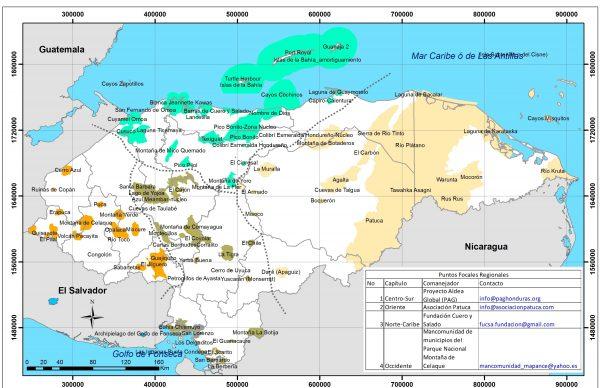 Mapa de áreas protegidas de Honduras