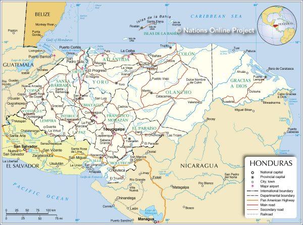 Mapa de carreteras de Honduras