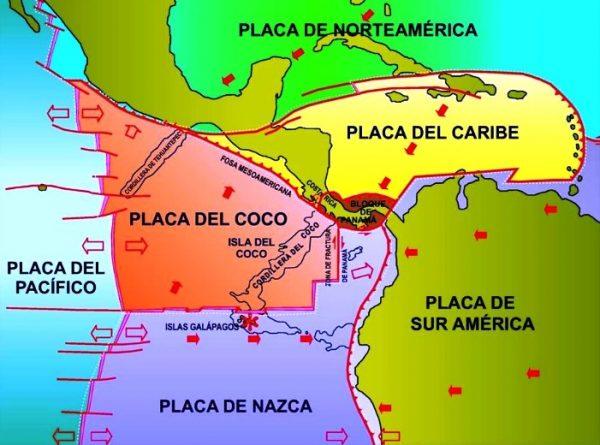 Mapa de placas tectónicas de Honduras