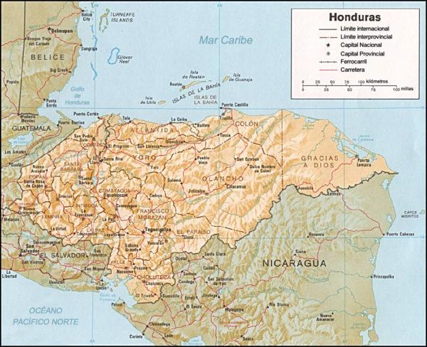 Mapa cartográfico de Honduras