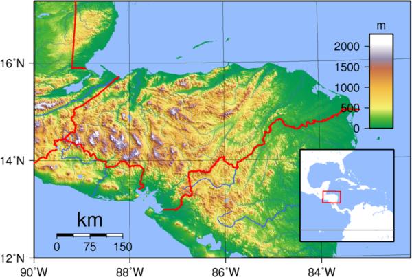 Mapa de cordilleras de Honduras