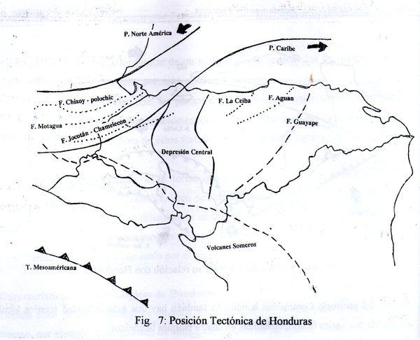 Mapa de fallas geológicas de Honduras