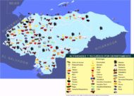 Mapa de Honduras con lo que produce cada departamento