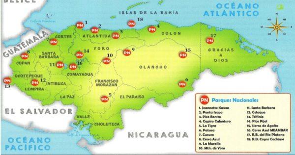 Mapa de parques nacionales de Honduras