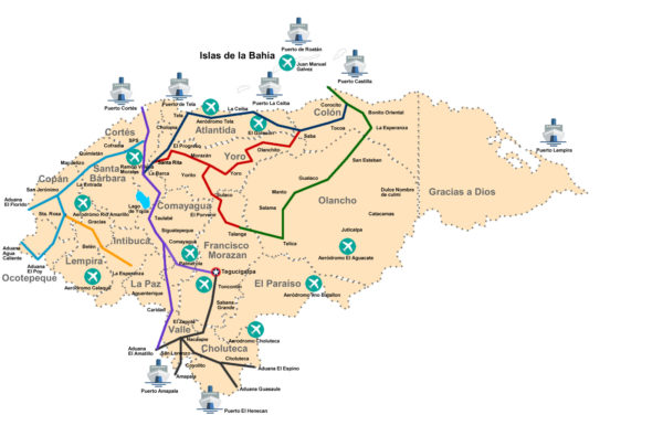 Mapa de puertos de Honduras