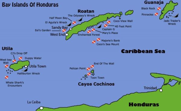 Mapa insular de Honduras