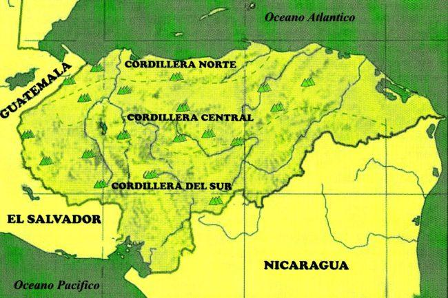 Mapa de regiones naturales de Honduras
