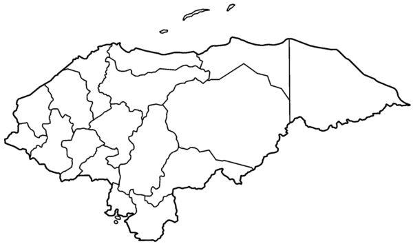 Mapa de Honduras con sus límites para colorear