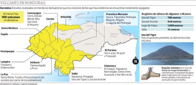 Mapa de volcanes de Honduras