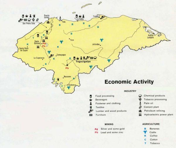 Mapa de actividades económicas de Honduras