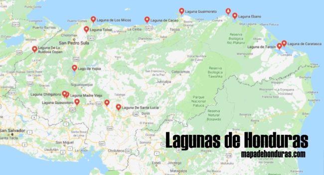 Mapa de lagunas de Honduras