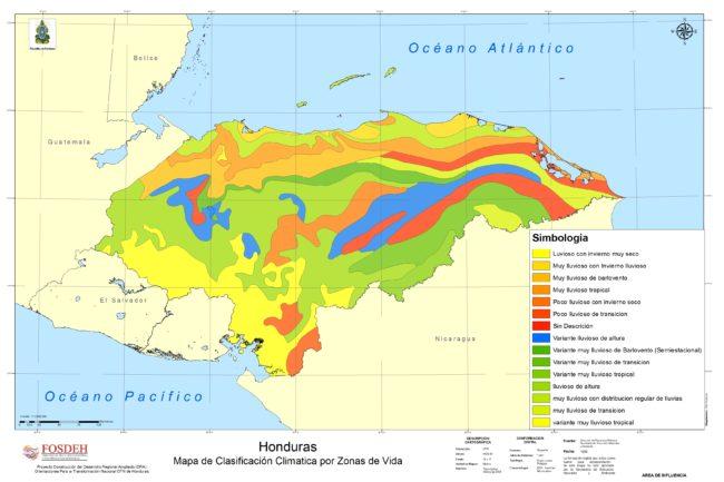 Mapa de climas de Honduras