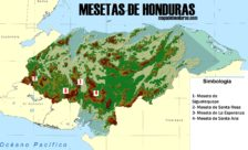 Mapa de mesetas de Honduras