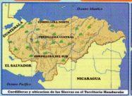 Mapa de sierras de Honduras